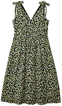 Calvin Klein Floral A-Line Dress with Shoulder Ties (Black/Popcorn Multi) Women's Dress