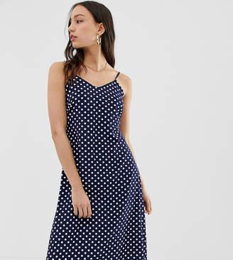 Glamorous Tall midaxi slip dress in spot print satin-Navy