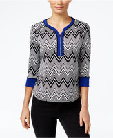 NY Collection Petite Printed Zip-Neck Top