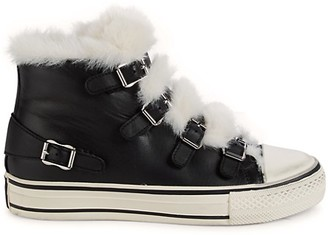 Ash Valant Faux fur Trim Leather High-Top Sneakers
