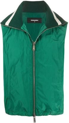 DSQUARED2 Ribbed-Collar Zipped Waistcoat