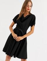 Closet London cowl kimono mini dress in black
