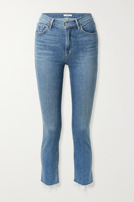 GRLFRND Reed Frayed Cropped High-rise Slim-fit Jeans - Mid denim