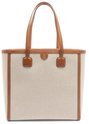 Mark Cross Antibes Large Leather-trimmed Canvas Tote - Beige