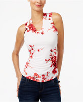 INC International Concepts Petite Printed Cross-Back Top, Only at Macy's