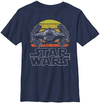 Fifth Sun Star Wars Tie Fighter Retro Halftone Sunset Boys Crew Neck Short Sleeve Graphic T-Shirt - Preschool / Big Kid Slim