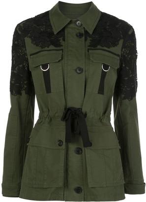 Veronica Beard Lace-Embellished Belted Jacket
