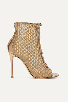 Gianvito Rossi 105 Lace-up Lurex, Mesh And Metallic Leather Ankle Boots - Gold