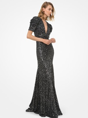 Michael Kors Collection Sequined Stretch Matte Jersey Ruched Gown