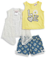 Little Lass Baby Girls Baby Girls Daisy Tank, Lace Topper and Graphic Shorts Set