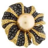 Ring 18K Pearl & Diamond Floral