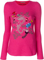 Ermanno Scervino dragon embroidered crew neck top - women - Silk/Cashmere/Wool - 40