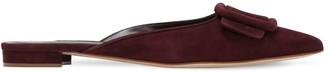 Manolo Blahnik 10mm Maysale Suede Mule Sandals
