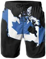 SWSW Mens Summer Blue Canada Ca Flag Map Quick Dry No Mesh Lining Swim Trunks