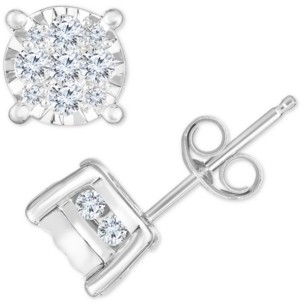 TruMiracle Diamond Cluster Stud Earrings (3/4 ct. t.w.) in 14k White Gold