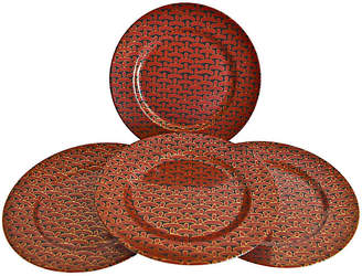 One Kings Lane Vintage Porcelain Bamboo Weave Plates - Set of 4 - The Montecito Collection - black/cinnabar/gold