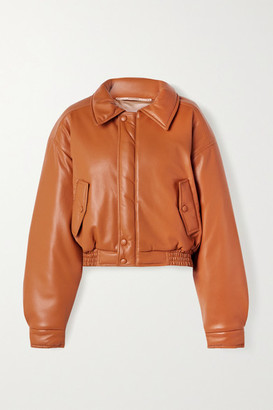 Nanushka Bomi Vegan Leather Bomber Jacket - Camel
