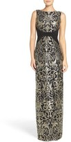 Adrianna Papell Women's Embroidered Jersey Column Gown