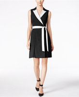 Calvin Klein Petite Colorblocked Wrap Dress