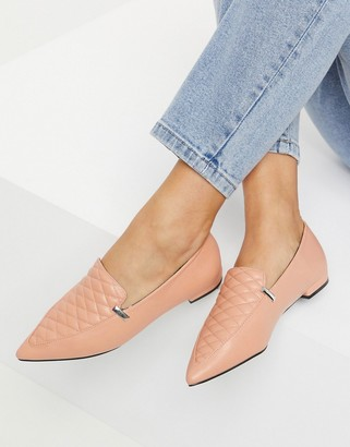 ASOS DESIGN Licorice quilted loafer ballet flats in peach