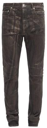 Rick Owens Detroit Metallic-painted Slim-leg Jeans - Black