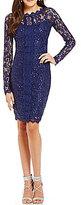 Sequin Hearts Front Panel Trim Sequin Lace Sheath Dress