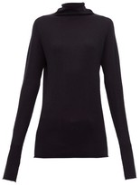 Raey Sheer Raw-edge Funnel-neck Cashmere Sweater - Womens - Navy