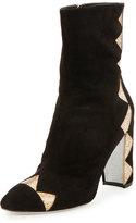 Rene Caovilla Crystal-Embellished Satin Ankle Boot, Black/Sunshine