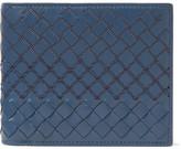 Bottega Veneta Embroidered Intrecciato Leather Billfold Wallet - Blue