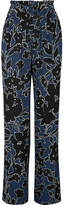 Michael Kors Floral-print Silk-georgette Wide-leg Pants - Blue