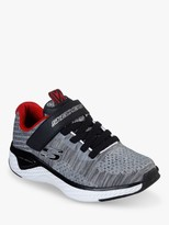 Skechers Solar Fuse Speed Blitz Trainers, Grey/Black/Red