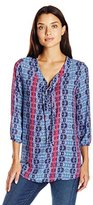Notations Women's 3/4 Elastic Sleeve Y Neck Printed Blouse
