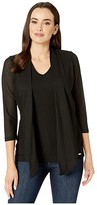 Calvin Klein Textured Faux Cardigan and Shell (Black) Women's Clothing