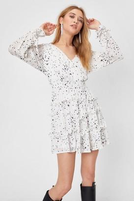 Nasty Gal Womens We've Came This Star Ruffle Mini Dress - White