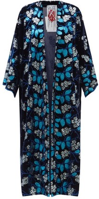 La Vie Style House - No. 4003 Embroidered And Sequinned Velvet Cover Up - Navy