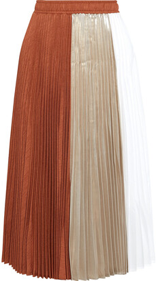 Clu Paneled Pleated Twill, Lame And Voile Midi Skirt