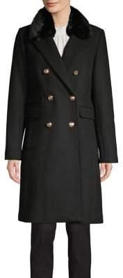 Vince Camuto Military Plaid Faux Fur Coat