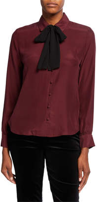Frame Long-Sleeve Silk Button-Front Blouse w/ Neck Tie