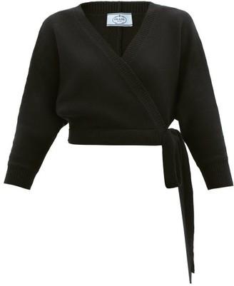 Prada Wrap-front Wool-blend Cardigan - Black