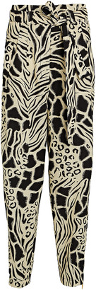 Alberta Ferretti Abstract Printed Cotton-Linen Pants
