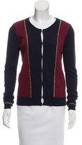 Maje Chain-Accented Colorblock Cardigan