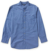 Roundtree & Yorke Casuals Long-Sleeve Horizontal Stripe Banded Collar Sportshirt