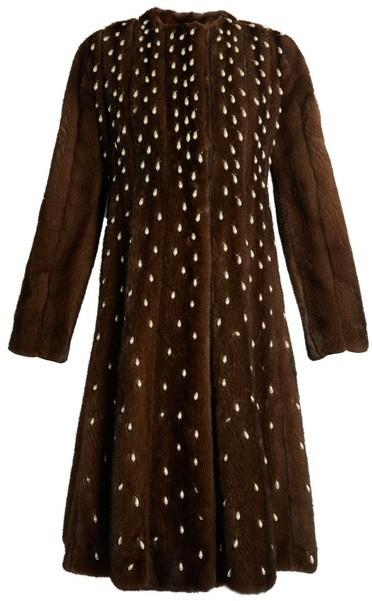 Altuzarra Belloza Faux Pearl Embellished Mink Fur Coat - Womens - Dark Brown