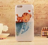 "Iphone 6/6s Cartoon Case,Jesiya Super Cute Animal Pattern Flower Print Utral Thin Slim Hard PC Case Cover For Iphone 6/6s 4.7""(Cat Kiss Fish)"