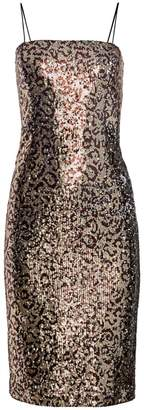 Milly Kaia Leopard Sequin Midi Sheath Dress