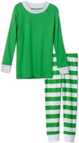 Sara's Prints Soft Green Striped Boys 2 Piece Pajama Set, Kids