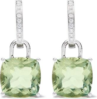 Kiki McDonough 18kt white gold Kiki Classics cushion cut green amethyst and detachable diamond hoop earrings