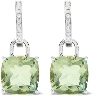 Kiki McDonough 18kt white gold Kiki Classics cushion cut green amethyst and diamond earrings
