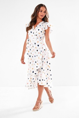 Iclothing Wrap Front Midi Dress in White Heart Print