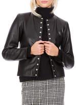 Agnès B. Faux Pearl Snap Leather Jacket